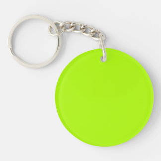 Fluorescent Green Solid Color Double-Sided Round Acrylic Key Ring