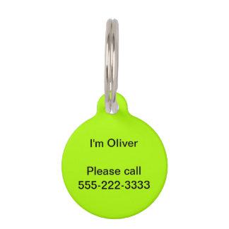 Fluorescent Green Solid Color Pet Tag