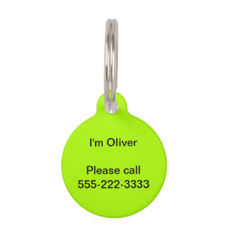 Fluorescent Green Solid Color Pet Tags