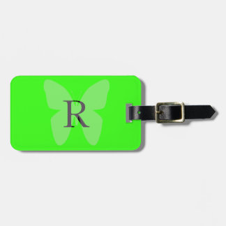 Fluorescent Neon Green Colorful Butterfly Pattern Luggage Tag