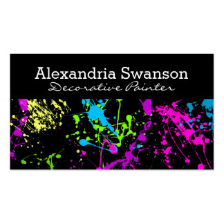 Fluorescent Neon Paint Splatter Artist Colorful Pack Of Standard Business Cards