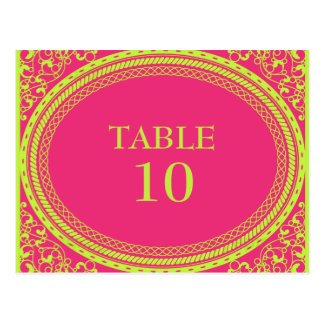 Fluorescent Neon Pink Green Table Number Postcards