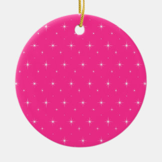Fluorescent Pink And Bright Stars Elegant Pattern Christmas Tree Ornaments