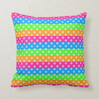 Fluorescent Rainbow with Polka Dots Cushion