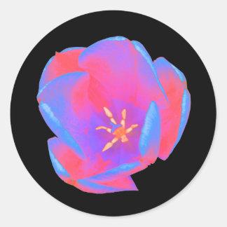 Fluorescent Tulip Round Stickers Round Sticker