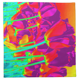fluorescent tulips printed napkins