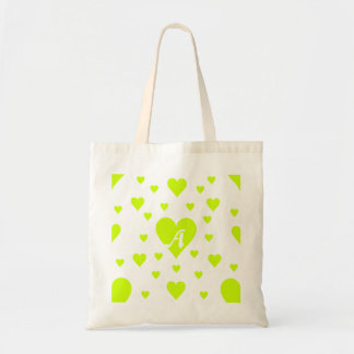 Fluorescent Yellow and White Hearts Monogram Tote Bags