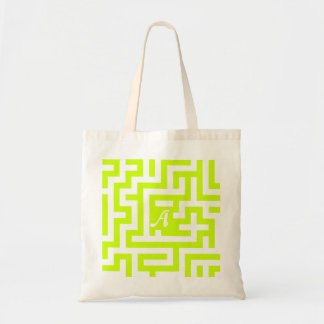 Fluorescent Yellow and White Maze Monogram Bags