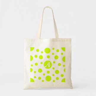 Fluorescent Yellow and White Polka Dots Monogram Tote Bags