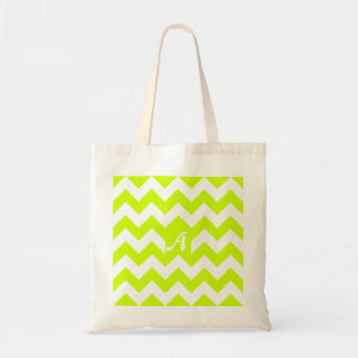 Fluorescent Yellow and White Zigzag Monogram Bags