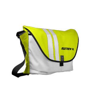 Fluorescent Yellow/White Race Stripe Messenger Messenger Bags