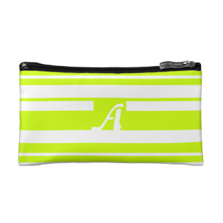 FluorescentYellow and White RandomStripes Monogram Makeup Bag
