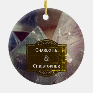 Fluorite Gemstone Personalized Wedding Ornament