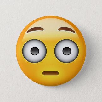Flushed Face Emoji 6 Cm Round Badge