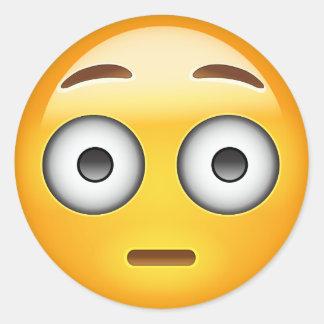 Flushed Face Emoji Round Sticker