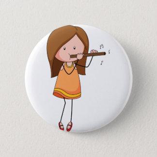 Flute 6 Cm Round Badge