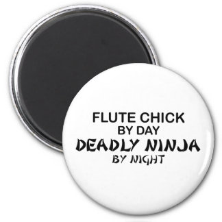 Flute Chick Deadly Ninja by Night 6 Cm Round Magnet