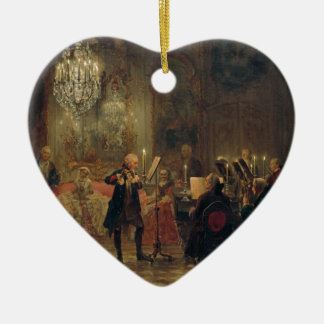 Flute Concert with Frederick the Great Sanssouci Double-Sided Heart Ceramic Christmas Ornament