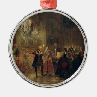 Flute Concert with Frederick the Great Sanssouci Silver-Colored Round Decoration