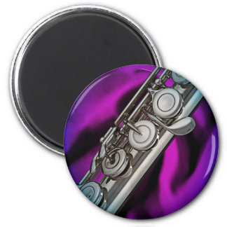 Flute Flutist Musician Round Magnet