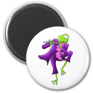 Flute Frog 6 Cm Round Magnet