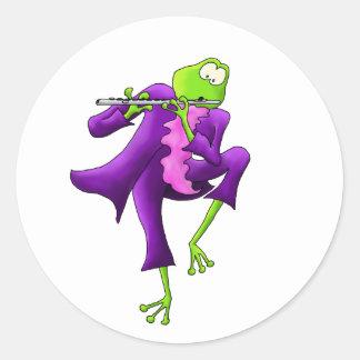 Flute Frog Round Sticker