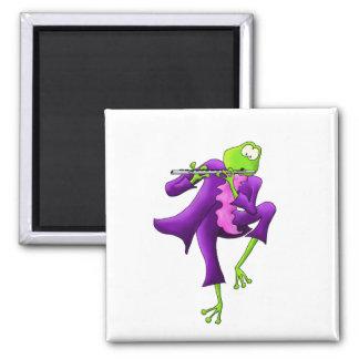 Flute Frog Square Magnet