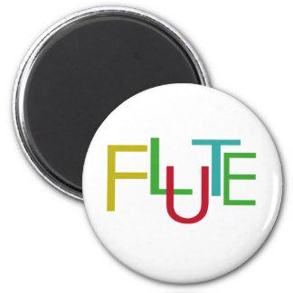 Flute Letters 6 Cm Round Magnet