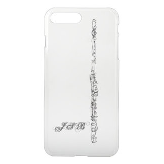 Flute Line Drawing, Customizable Initials iPhone 7 Plus Case