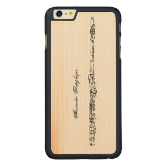 Flute Line Drawing, Customizable Name Carved® Maple iPhone 6 Plus Case