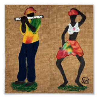 Flute Man and Dancer Poster