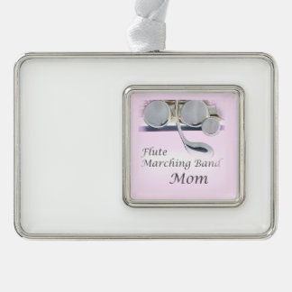 Flute Marching Band Mom Christmas Ornament Silver Plated Framed Ornament