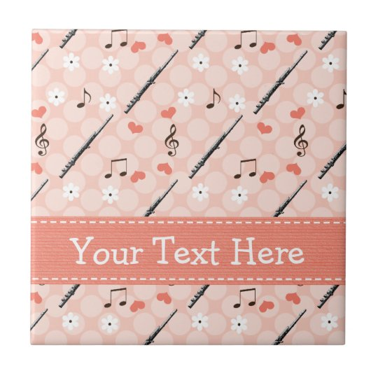Flute Music Note Ceramic Tile Trivet
