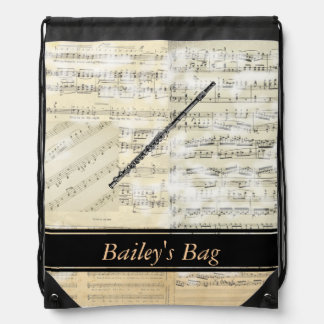 Flute Music Personalized Drawstring Backpack