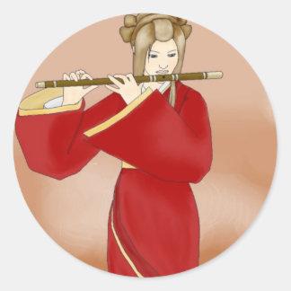 Flute of Autumn Classic Round Sticker