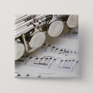 Flute on Sheet Music 15 Cm Square Badge