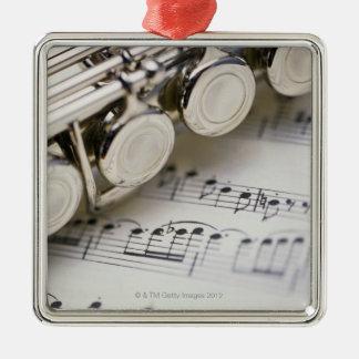 Flute on Sheet Music Square Metal Christmas Ornament