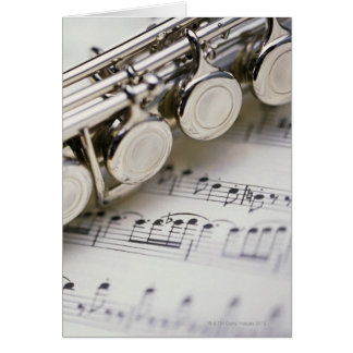 Flute on Sheet Music Greeting Card