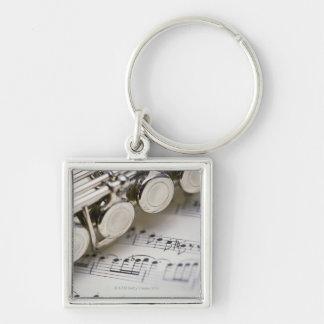 Flute on Sheet Music Key Ring