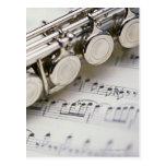 Flute on Sheet Music Postcard