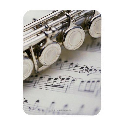 Flute on Sheet Music Rectangular Magnet