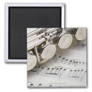 Flute on Sheet Music Square Magnet