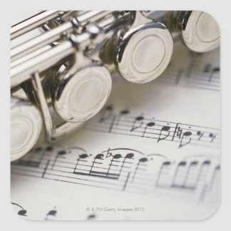 Flute on Sheet Music Square Sticker