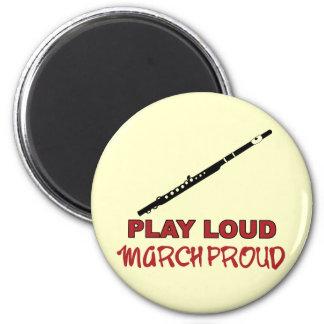 Flute - Play Loud, March Proud 6 Cm Round Magnet