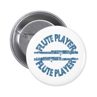 Flute Player 6 Cm Round Badge