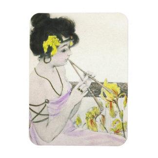 Flute Player Art Nouveau Magnet