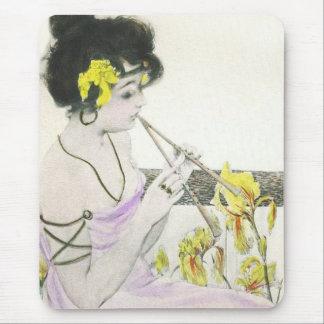 Flute Player Art Nouveau Mouse Pad