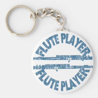 Flute Player Basic Round Button Key Ring