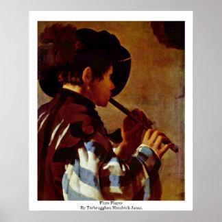 Flute Player By Terbrugghen Hendrick Jansz. Poster