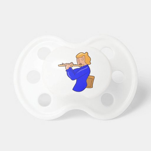 flute player lady blue shirt abstract.png baby pacifier
